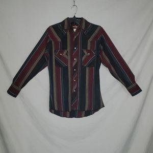 Wrangler western mens M vintage striped snap long